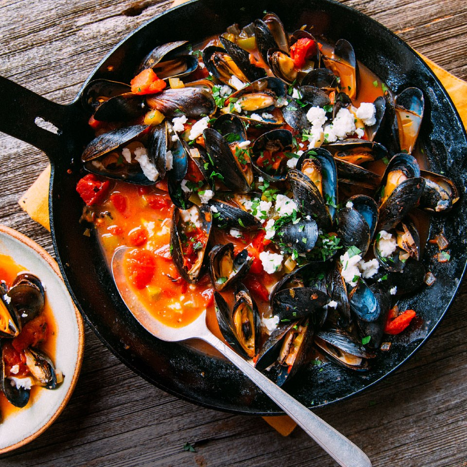 Anchor Bay Mussels with Tomatoes & Feta