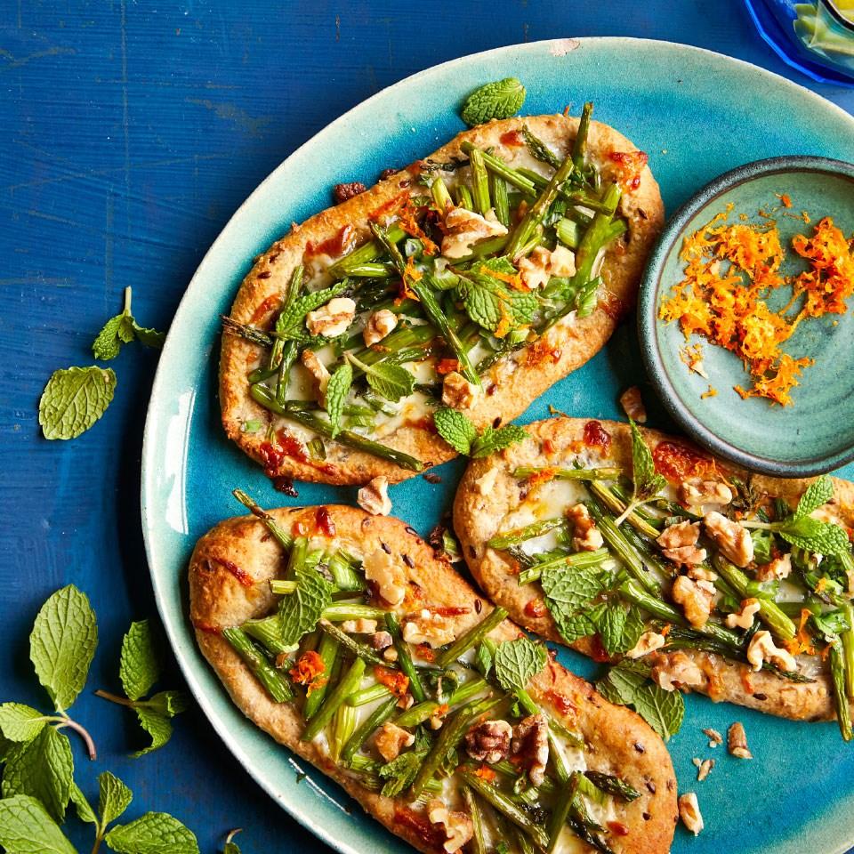 Asparagus & Smoked Mozzarella Pizzettes