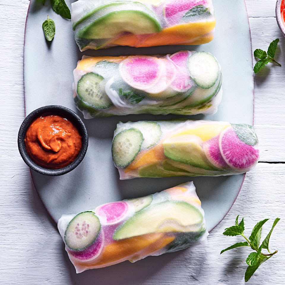 Watermelon Radish & Avocado Summer Rolls