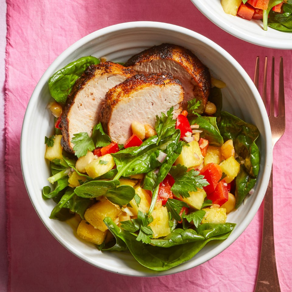 Spiced Pork Tenderloin with Spinach & Macadamia Nut Salad