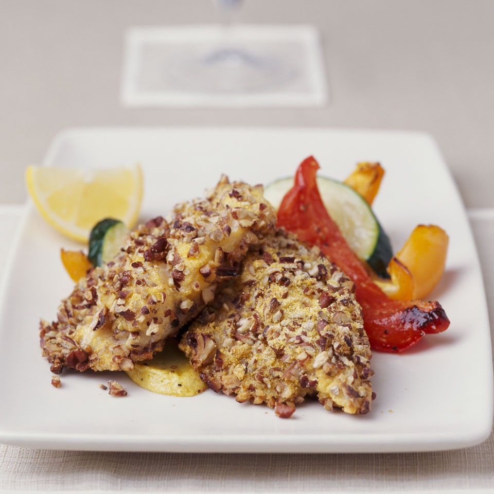 Pecan-Crusted Fish with Peppers & Squash