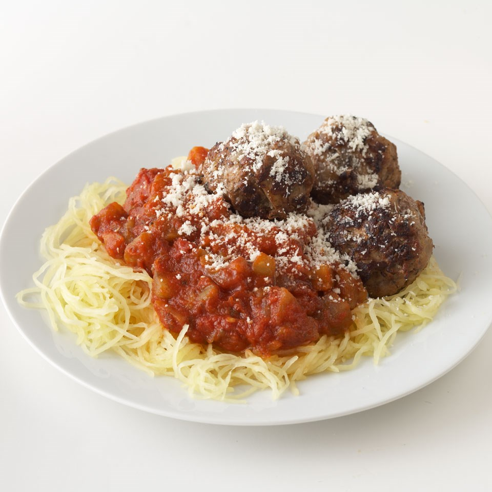 Turkey-Apple Meatballs with Spaghetti Squash