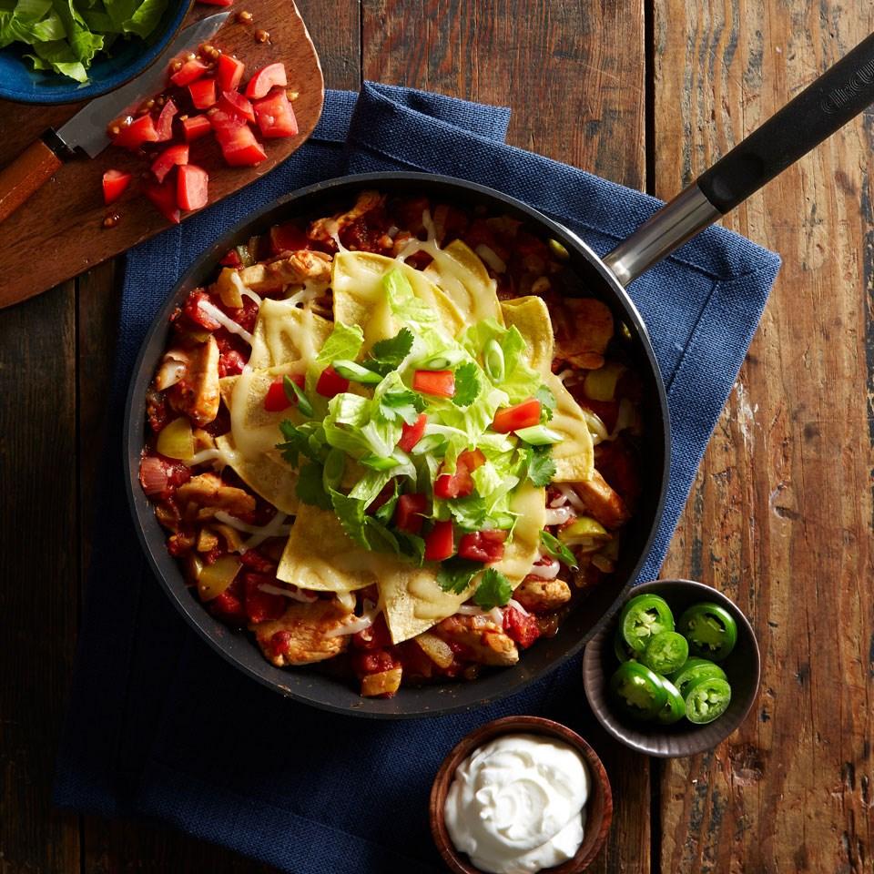 Skillet Green Chile-Chicken Enchilada Casserole