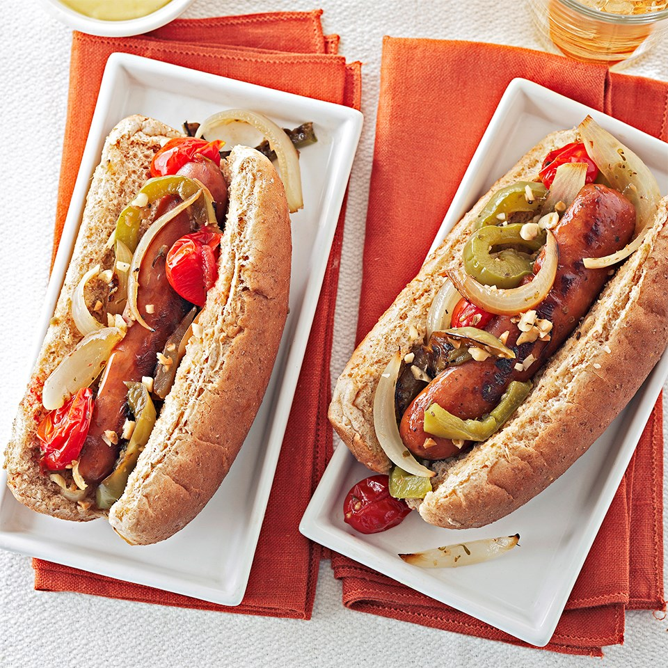 Sausage Sandwiches with Roasted Veggies