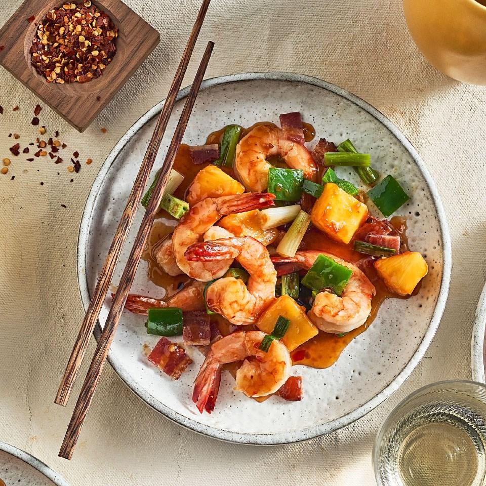 Easy Shrimp Stir-Fry with Green Pepper, Pineapple & Bacon