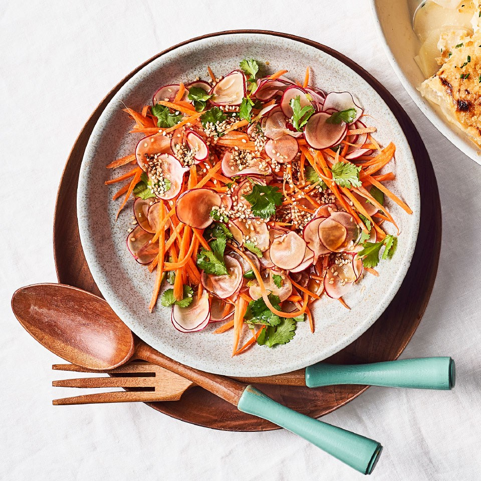 Radish & Carrot Slaw with Toasted Sesame Dressing