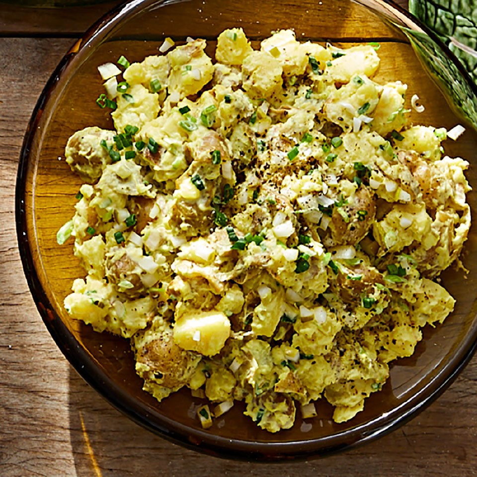 Mashed New Potato Salad with Spring Onions