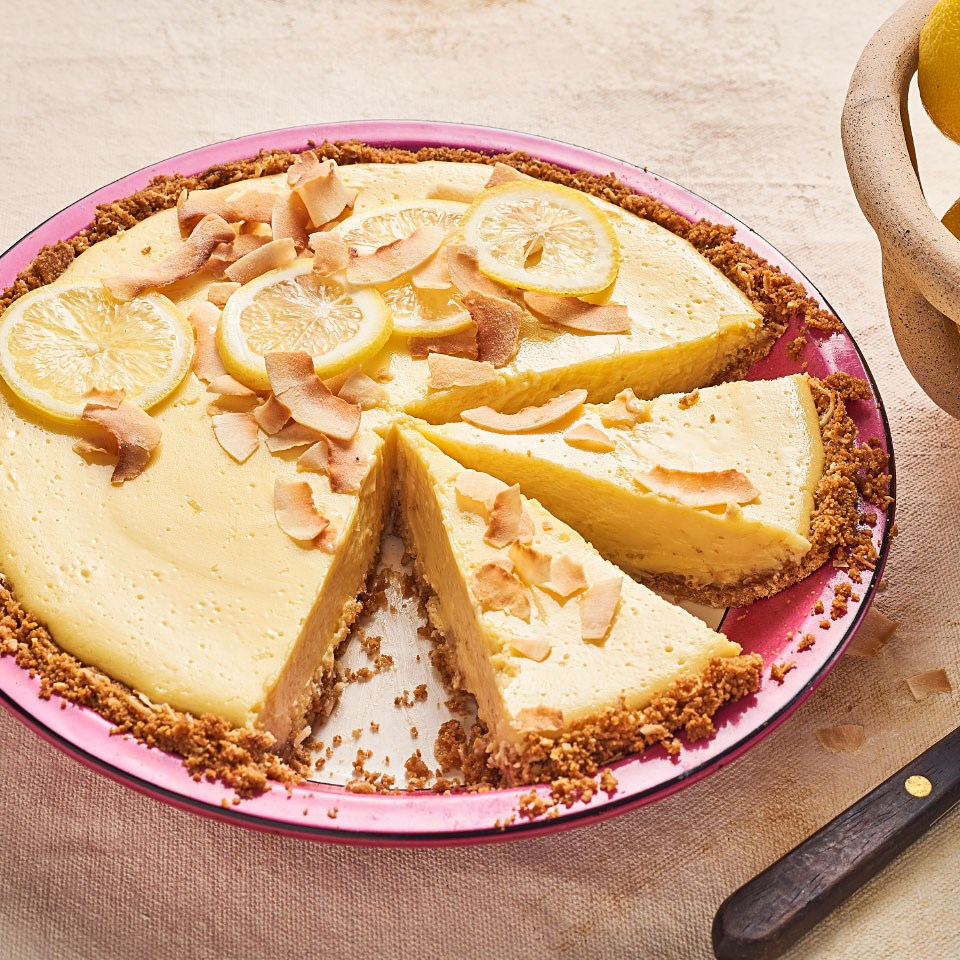 Lemon Icebox Pie with Coconut-Graham Cracker Crust