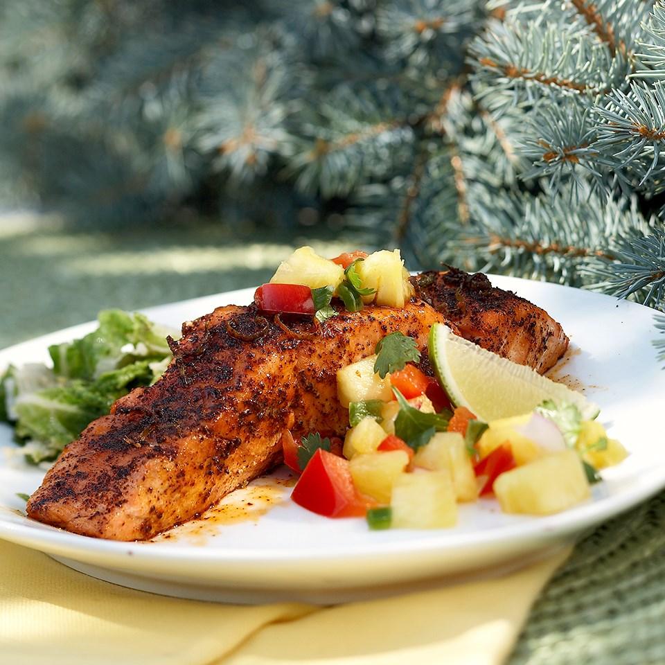 Salmon with Cilantro-Pineapple Salsa
