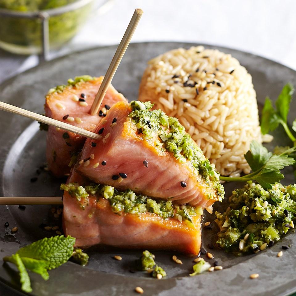Wild-Caught Salmon Satay with Asian-Style Pesto