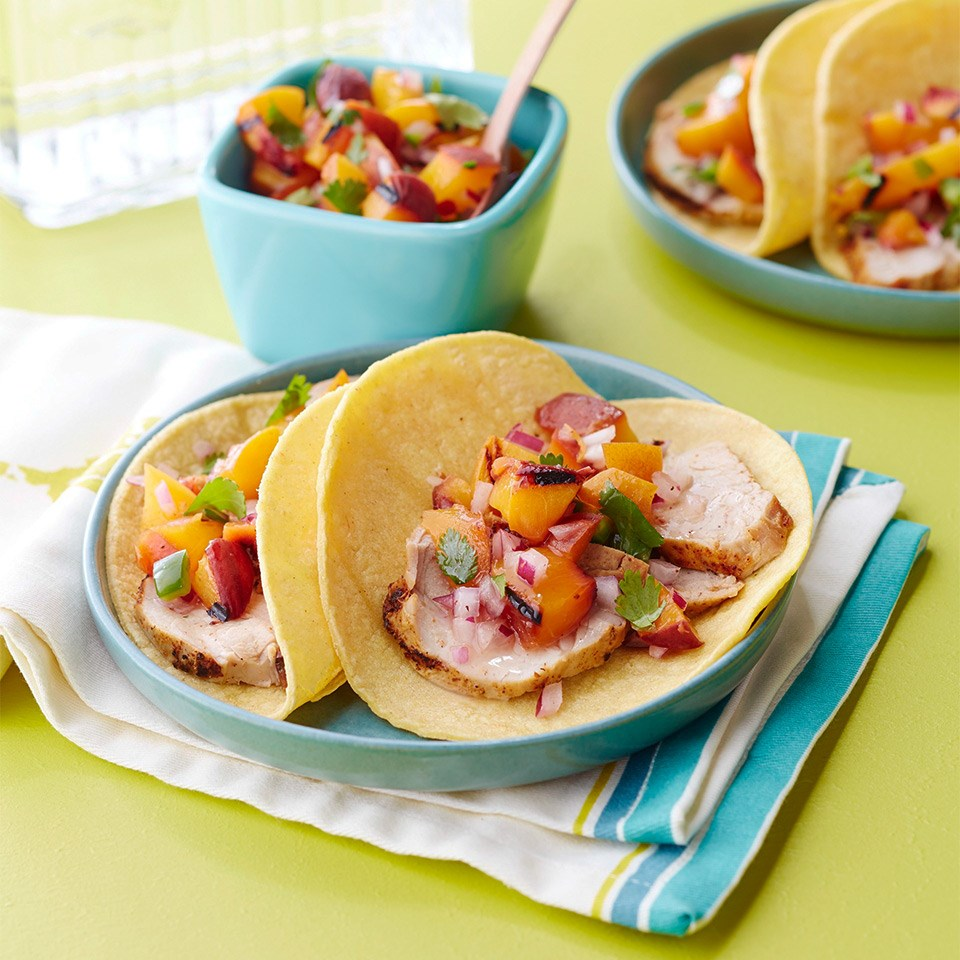 Pork Tacos with Summer Peach Salsa