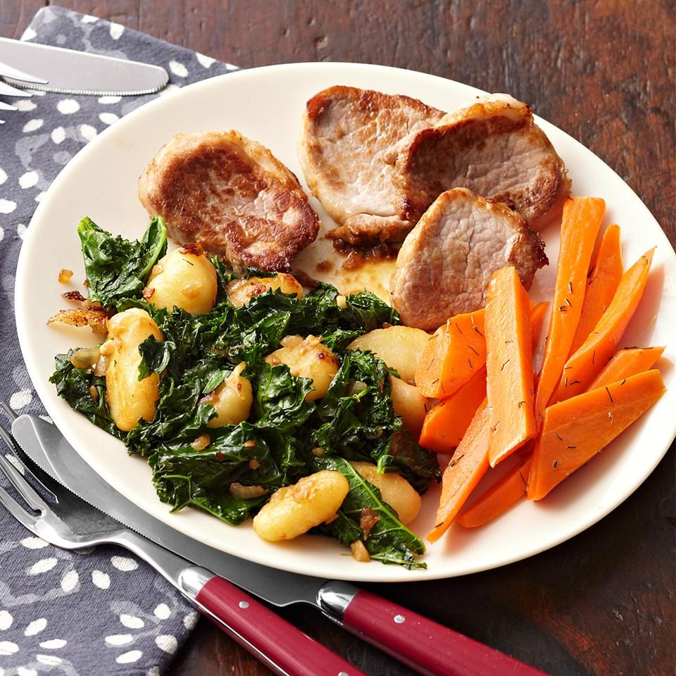 Lime Pork Piccata with Garlic Kale & Gnocchi