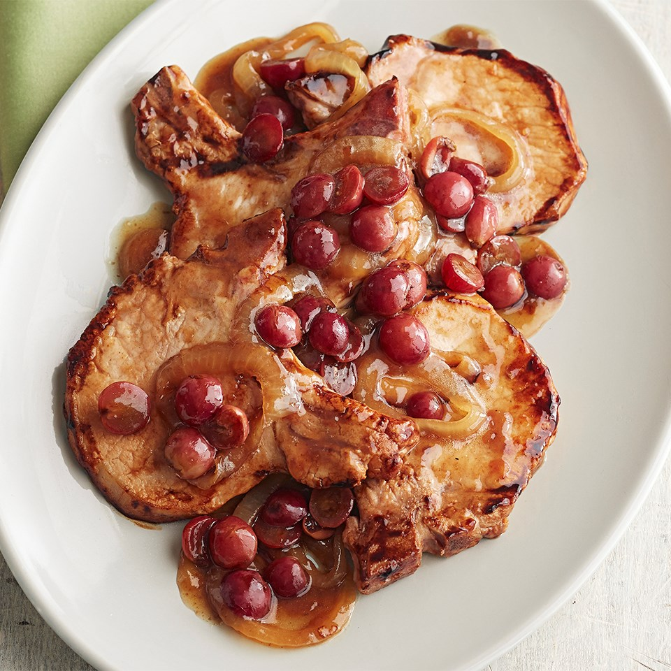 Sautéed Pork Chops with Balsamic Grape Sauce