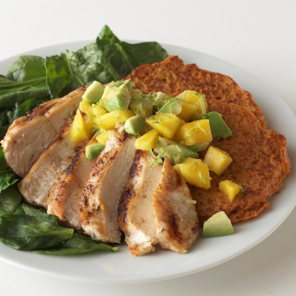 Caribbean Chicken with Sweet Potato Pancakes & Avocado-Mango Salsa