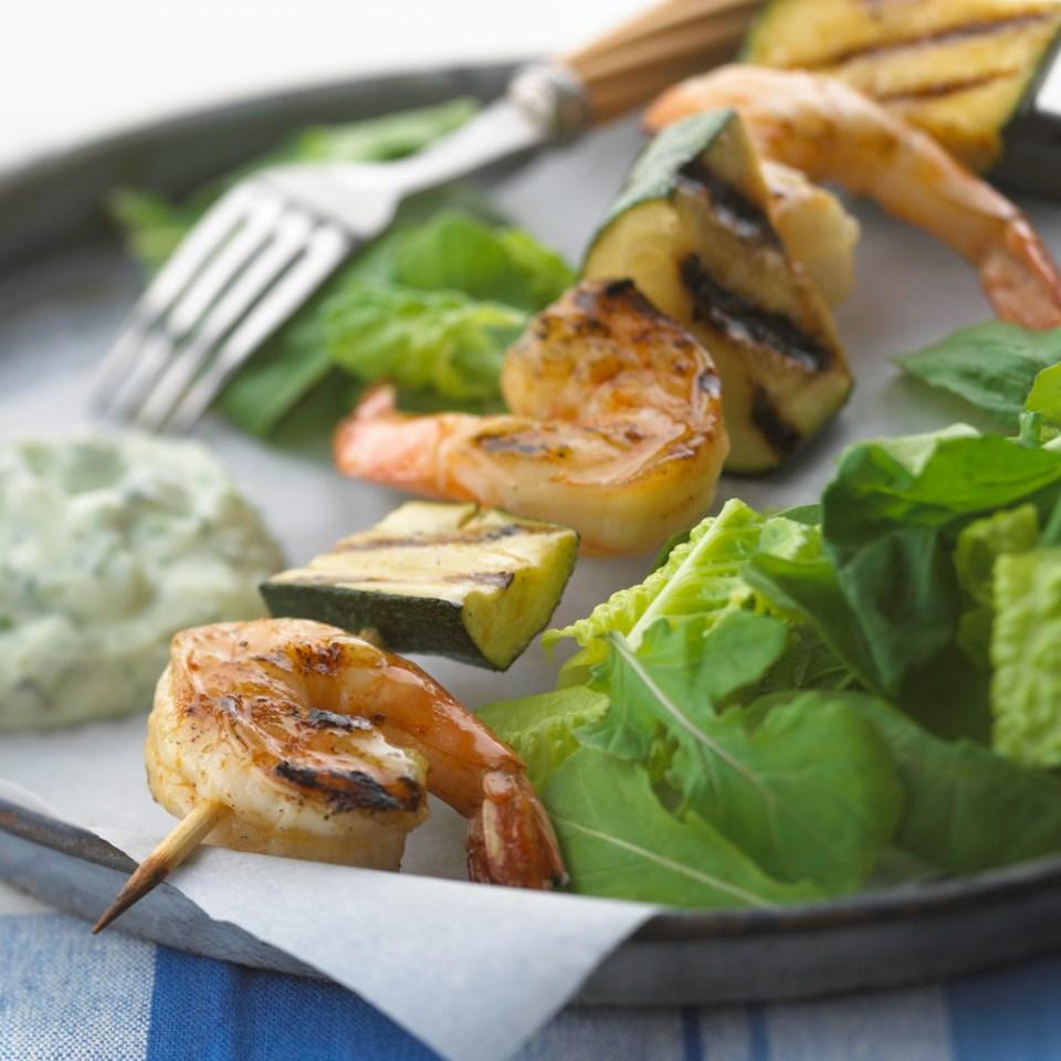 Shrimp & Zucchini with Basil Chive Cream Sauce