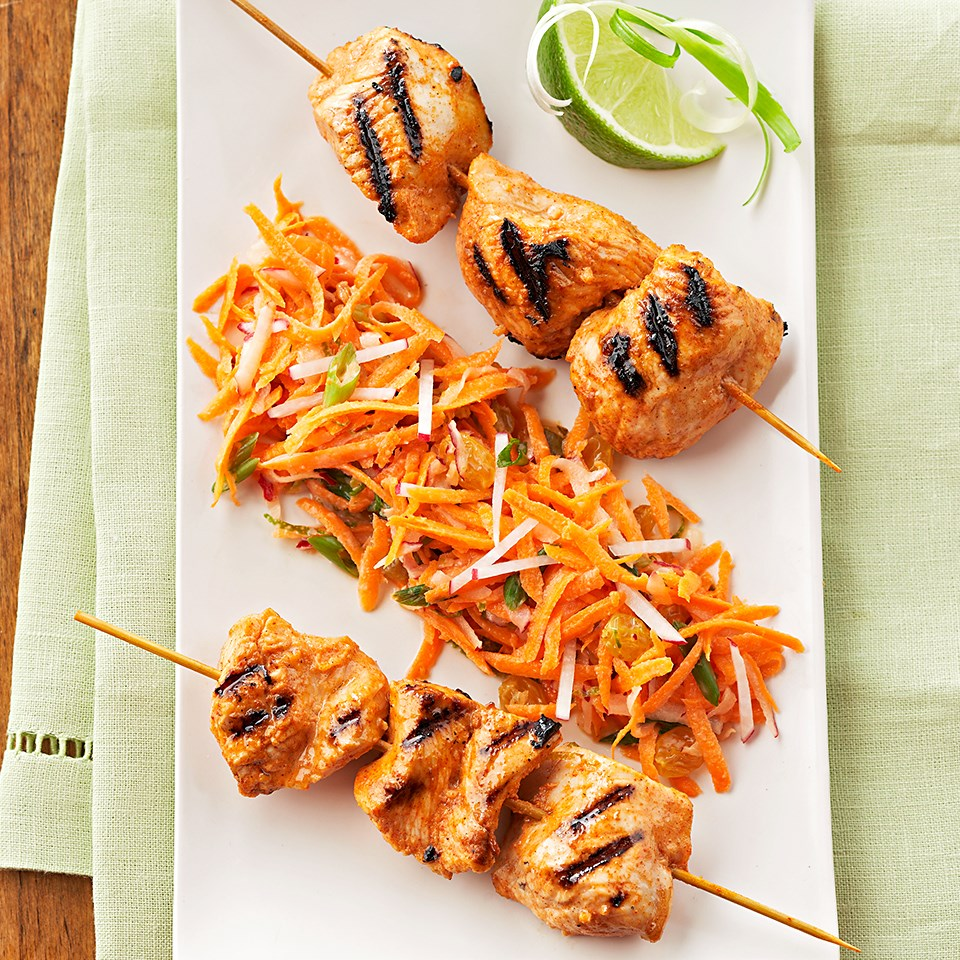 Tandoori-Style Turkey Kebabs with Carrot-Radish Salad