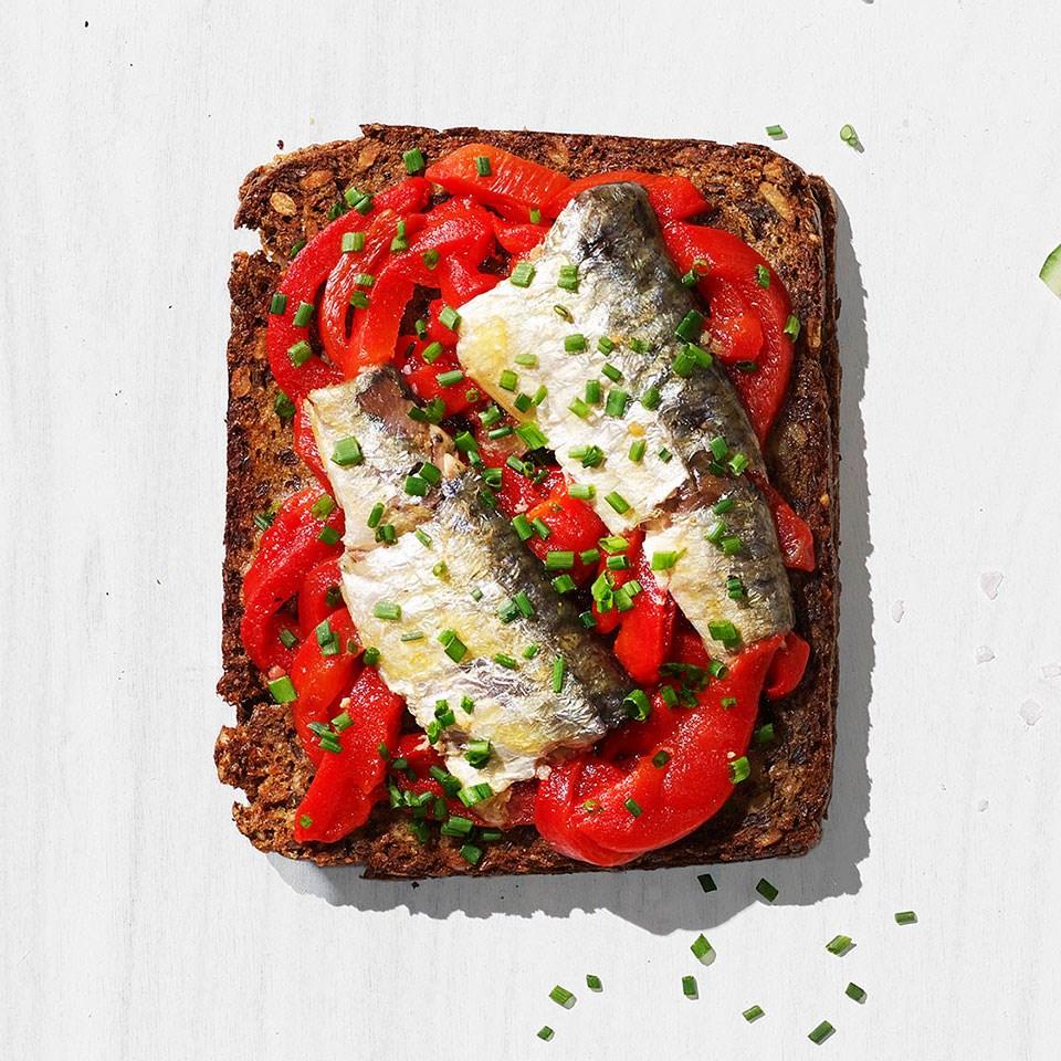 Roasted Red Pepper & Sardine Toast