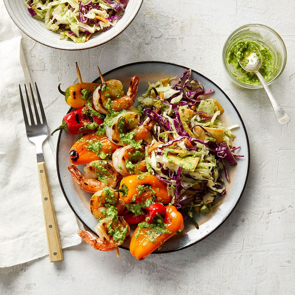Shrimp & Pepper Kebabs with Grilled Red Onion Slaw