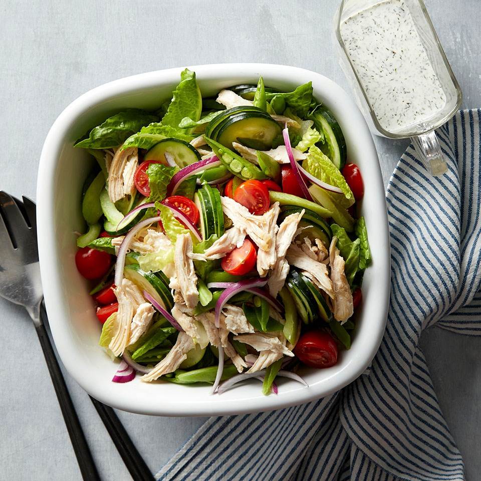 Spring Vegetable Salad with Chicken & Buttermilk-Herb Dressing
