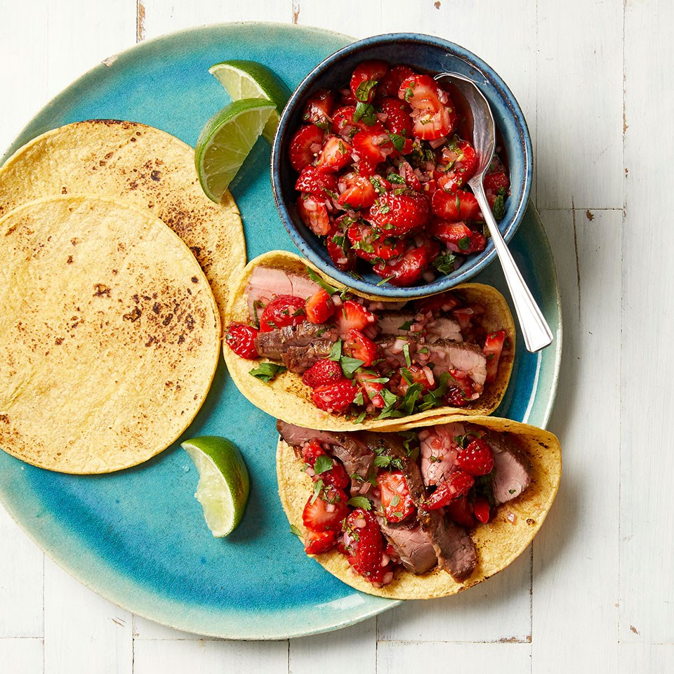 Flank Steak Tacos with Strawberry Salsa