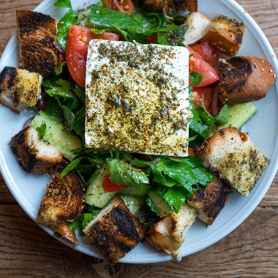Israeli Salad with Challah Croutons & Feta