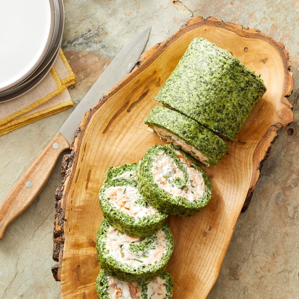 Smoked Salmon & Spinach Roulade