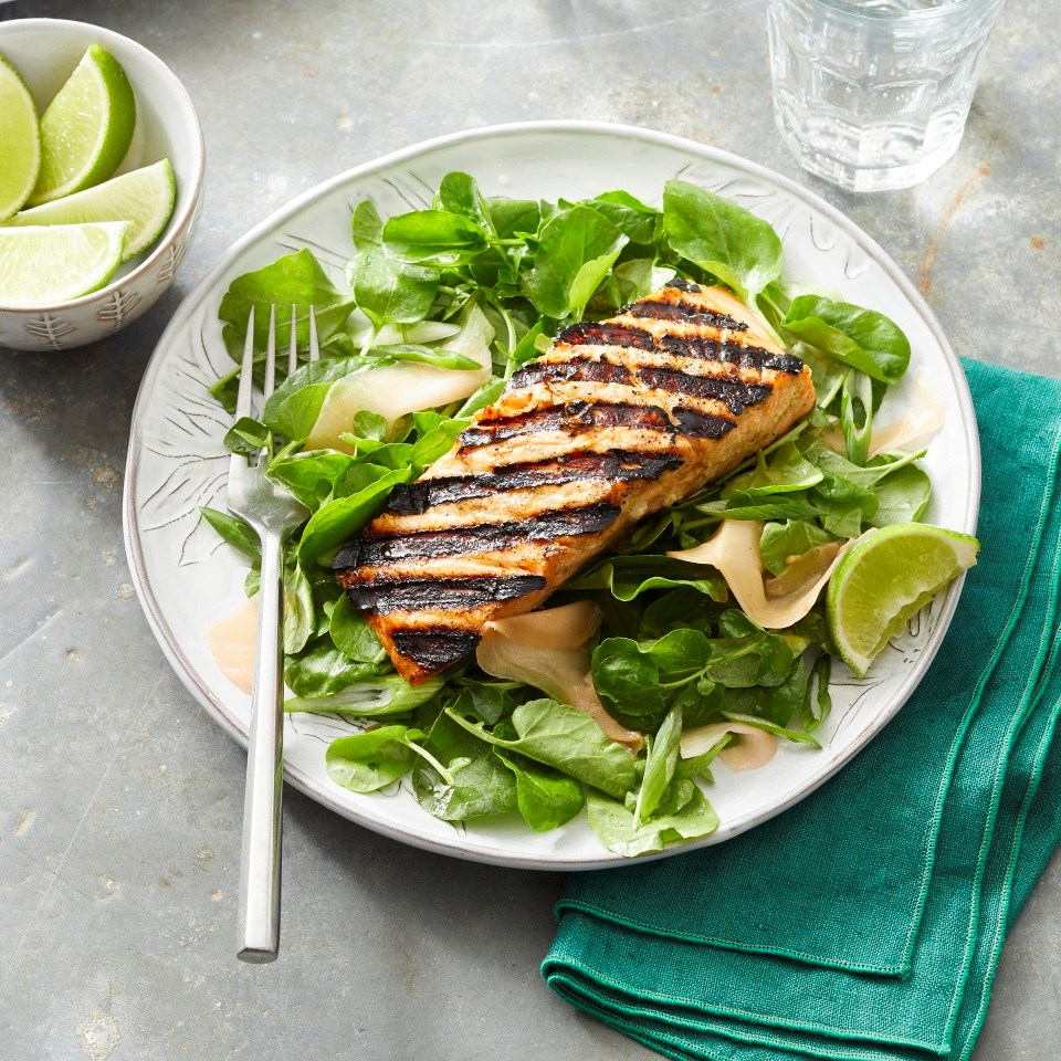 Gingery Grilled Salmon Salad