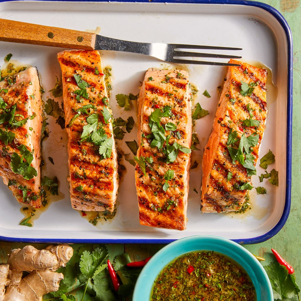Grilled Salmon With Cilantro-Ginger Sauce Recipe