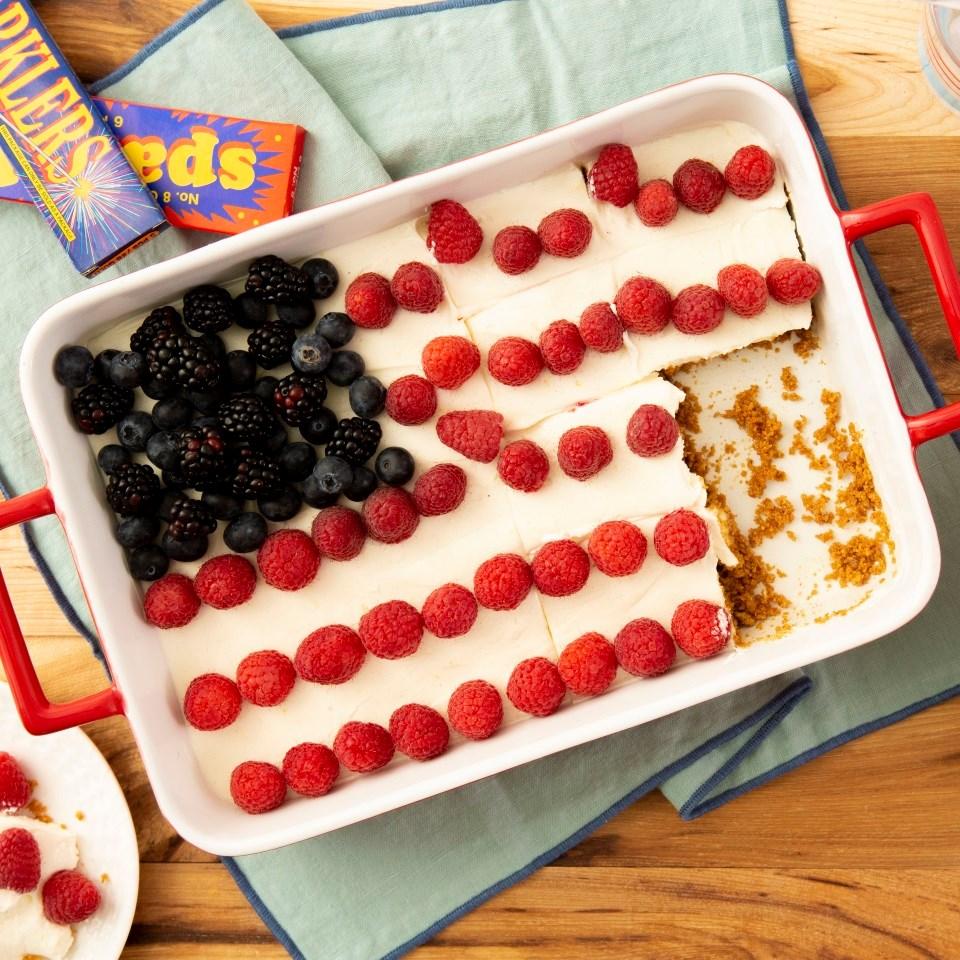 No-Bake Berry Flag Cake