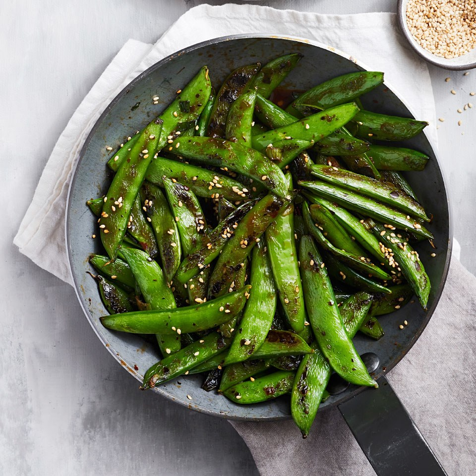 Charred Sugar Snap Peas with Sesame-Chili Sauce