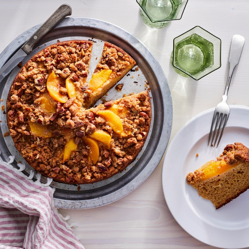 Peach Coffee Cake with Pecan Streusel