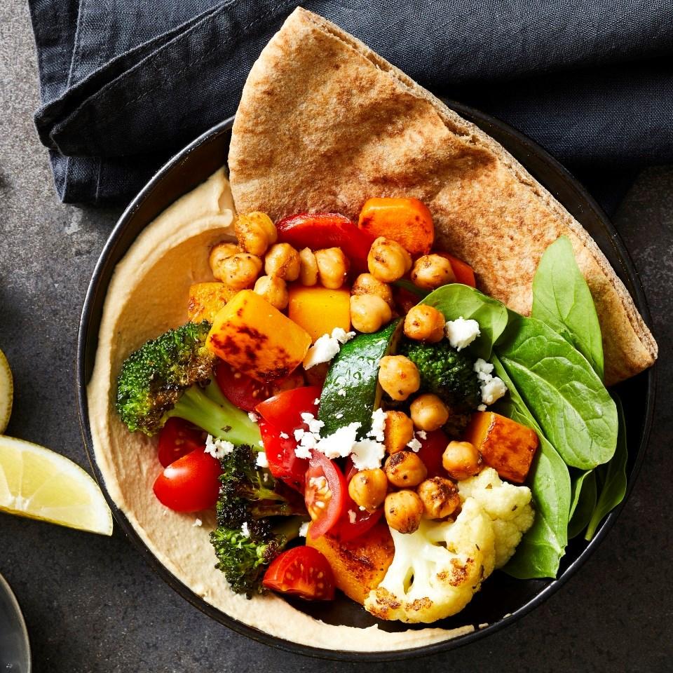pita hummos veggie bowl