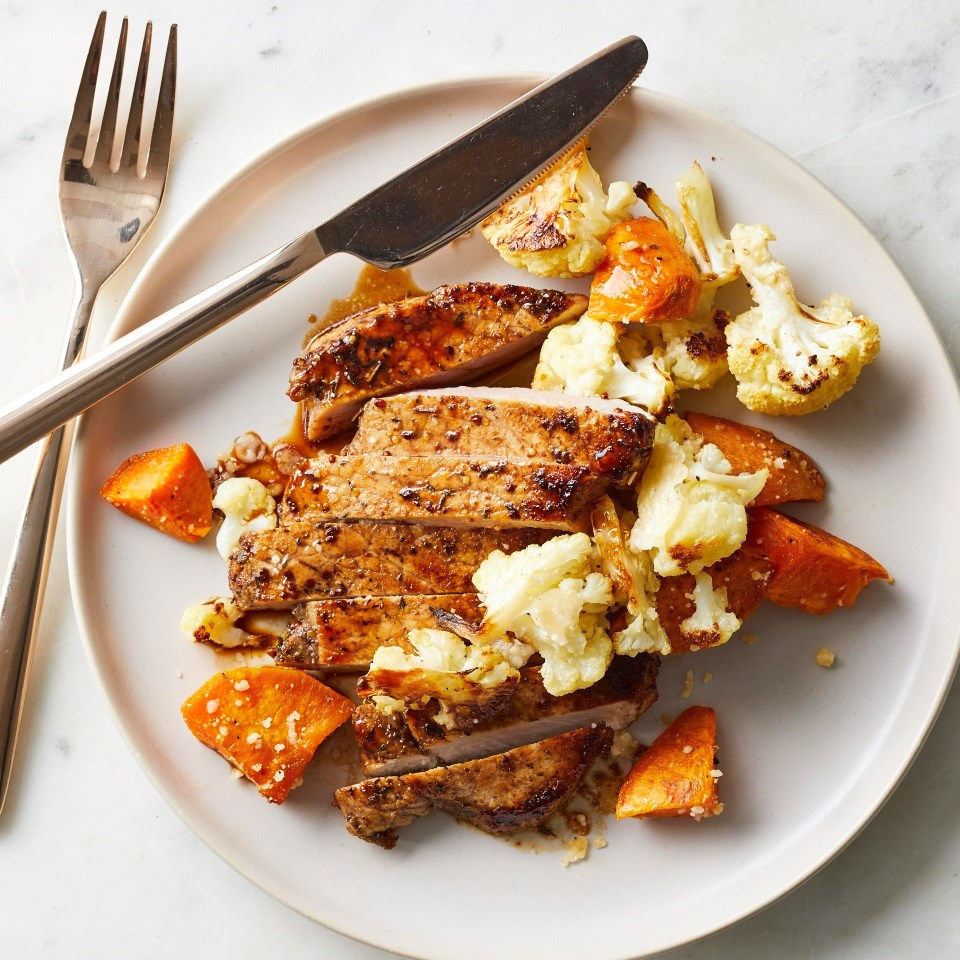 Maple-Mustard Pork with Roasted Sweet Potatoes & Cauliflower