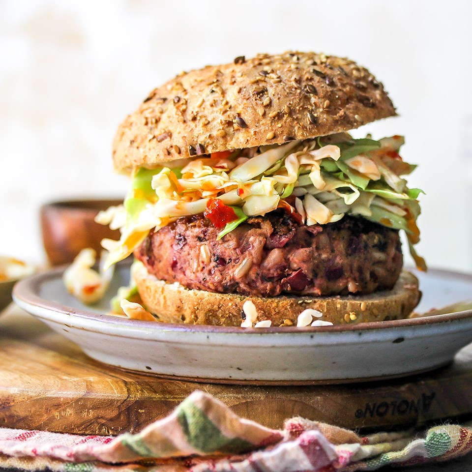 Vegan Beet Burgers with Sweet Chili Slaw