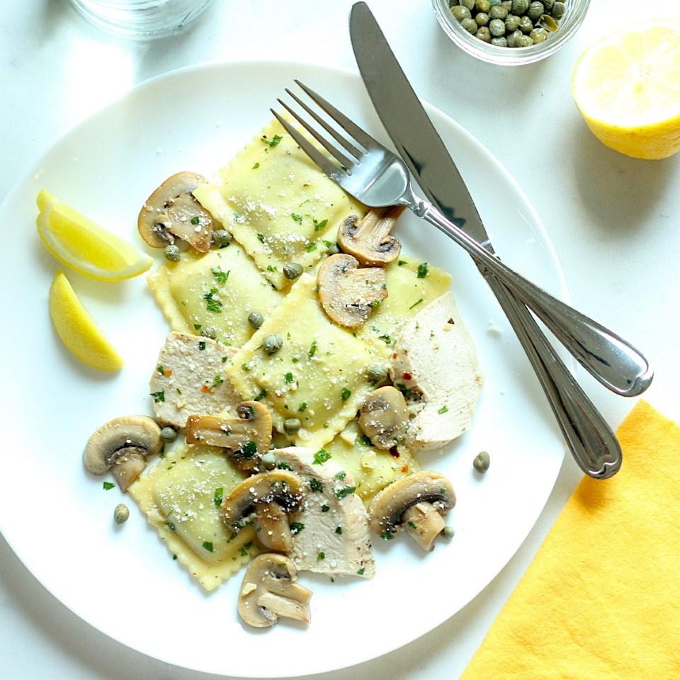 Mushroom Ravioli & Chicken Piccata