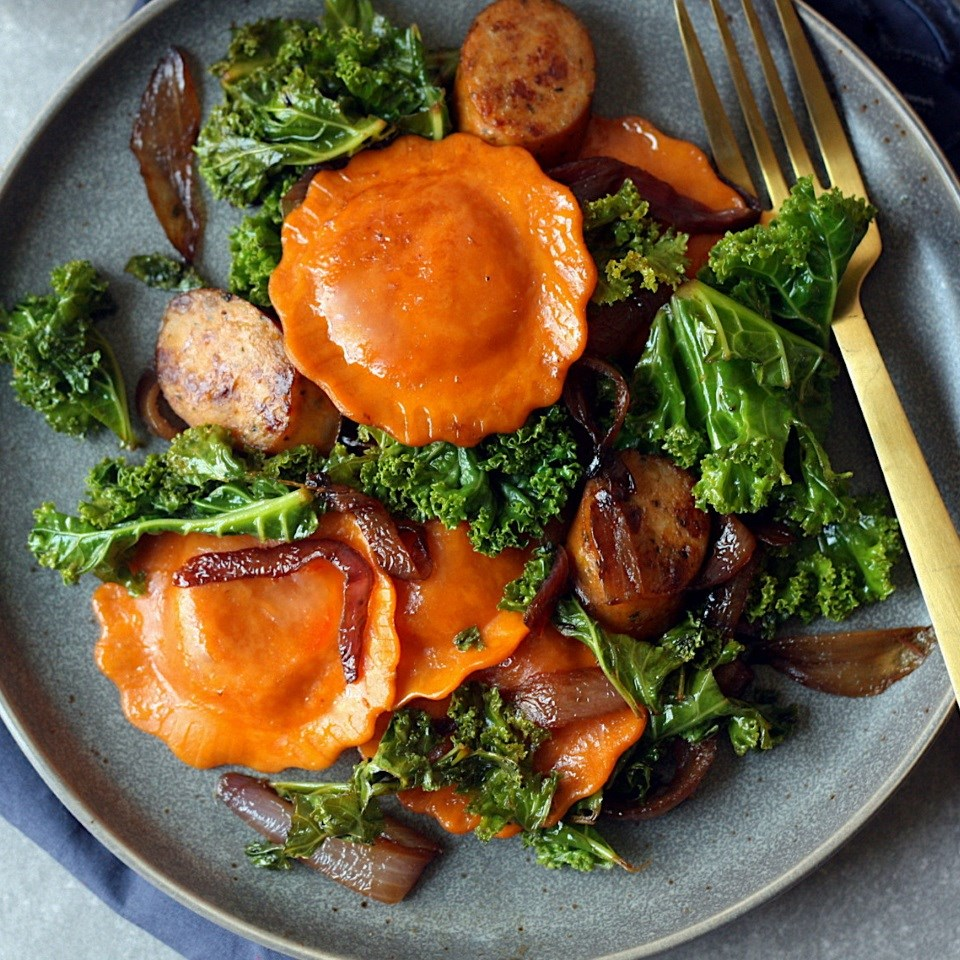 Butternut Squash Ravioli with Chicken Sausage & Kale