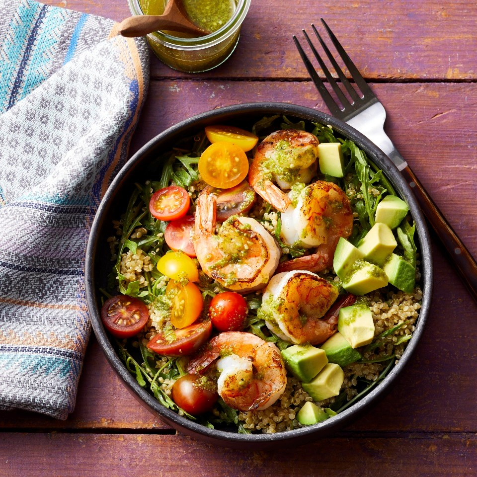 Charred Shrimp & Pesto Buddha Bowls
