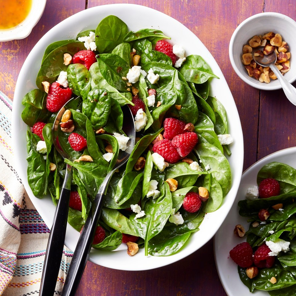 Spinach Salad with Raspberries, Goat Cheese & Hazelnuts