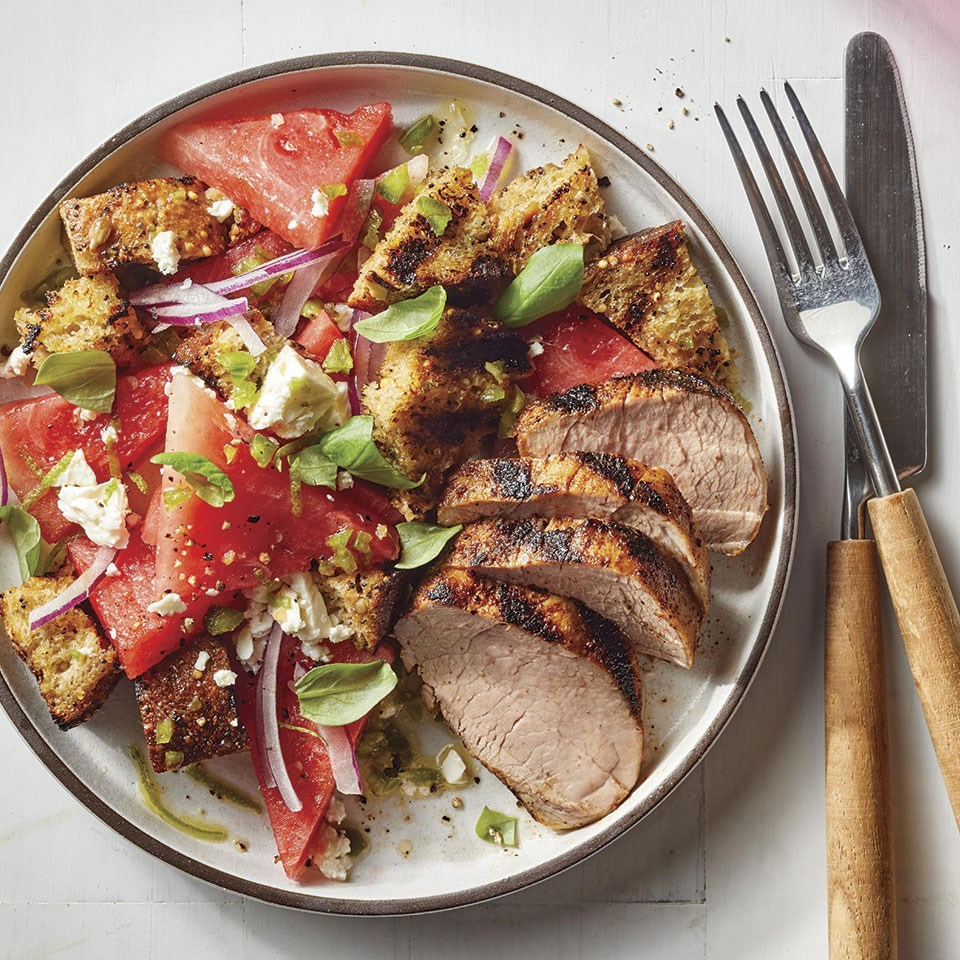 Grilled Pork Tenderloin with Watermelon Panzanella Recipe