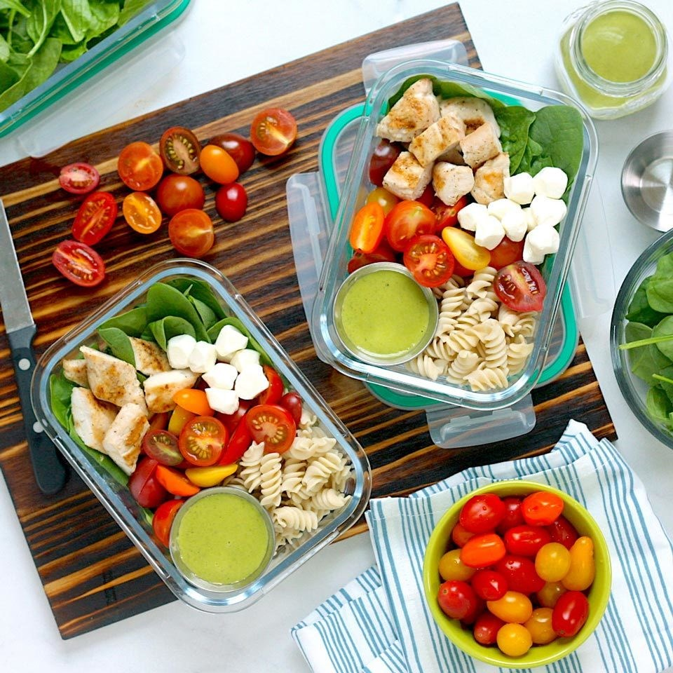 Chicken Caprese Pasta Salad Bowls