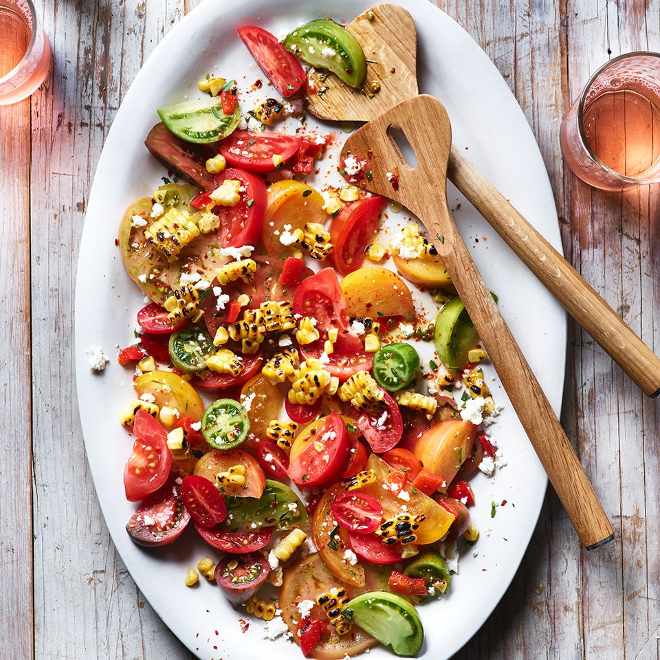 Heirloom Tomato Salad with Charred Corn & Pepper Salsa