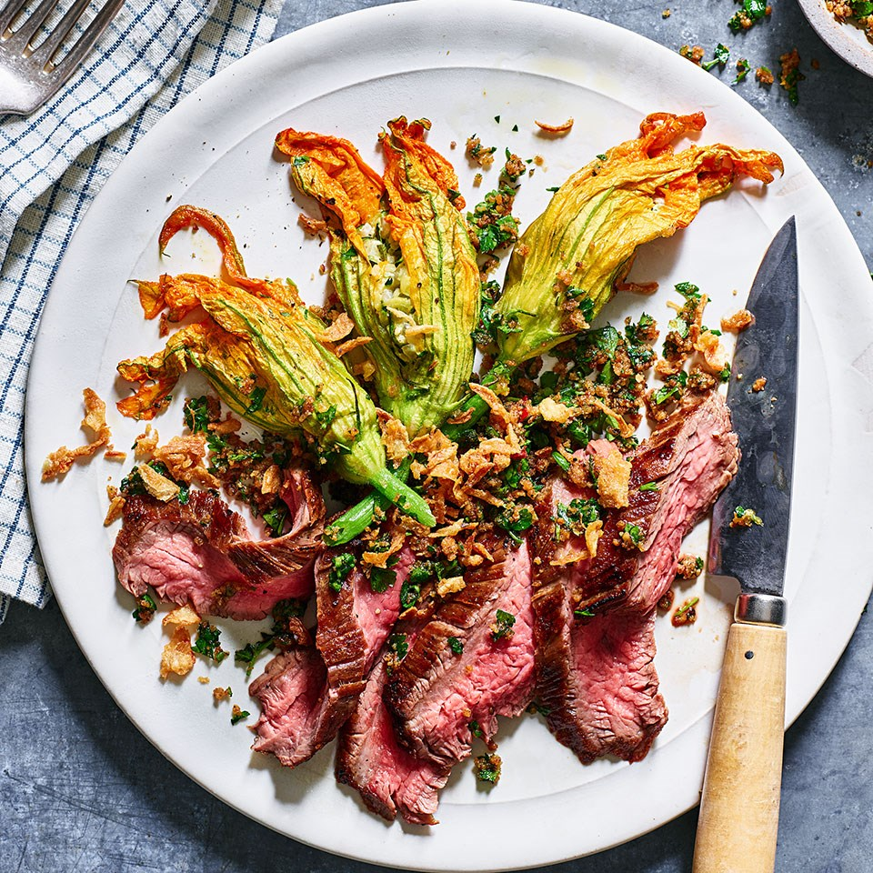 Grilled Hanger Steak with Stuffed Squash Blossoms & Crispy Onions