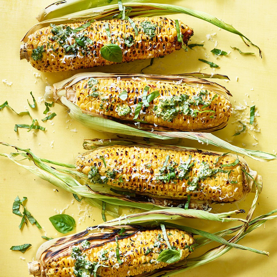 Grilled Corn on the Cob with Pesto Butter