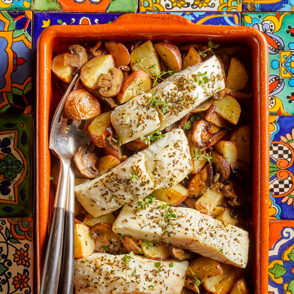 Provençal Baked Fish with Roasted Potatoes & Mushrooms Recipe