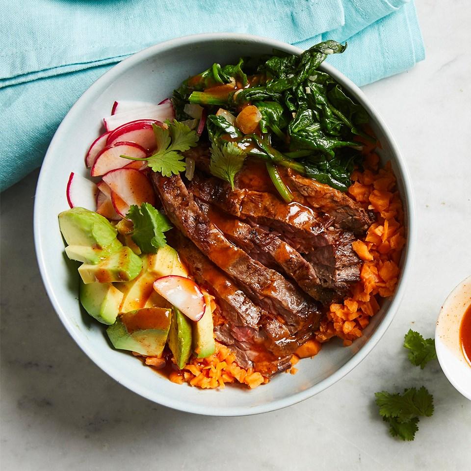 Steak Enchilada Bowls with Sweet Potato Rice