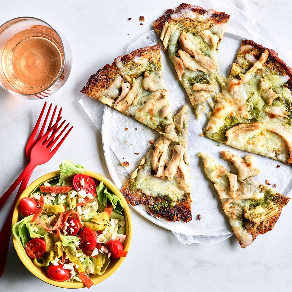Pesto Chicken Cauliflower Pizza & Antipasto Salad