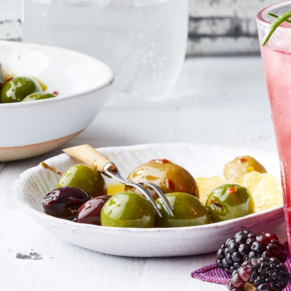 Garlic-Chile Marinated Olives