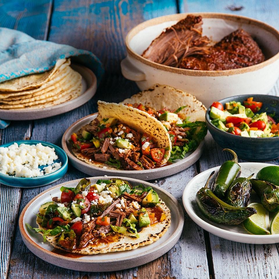 Slow-Cooker Carne Picada Tacos with Avocado Salsa