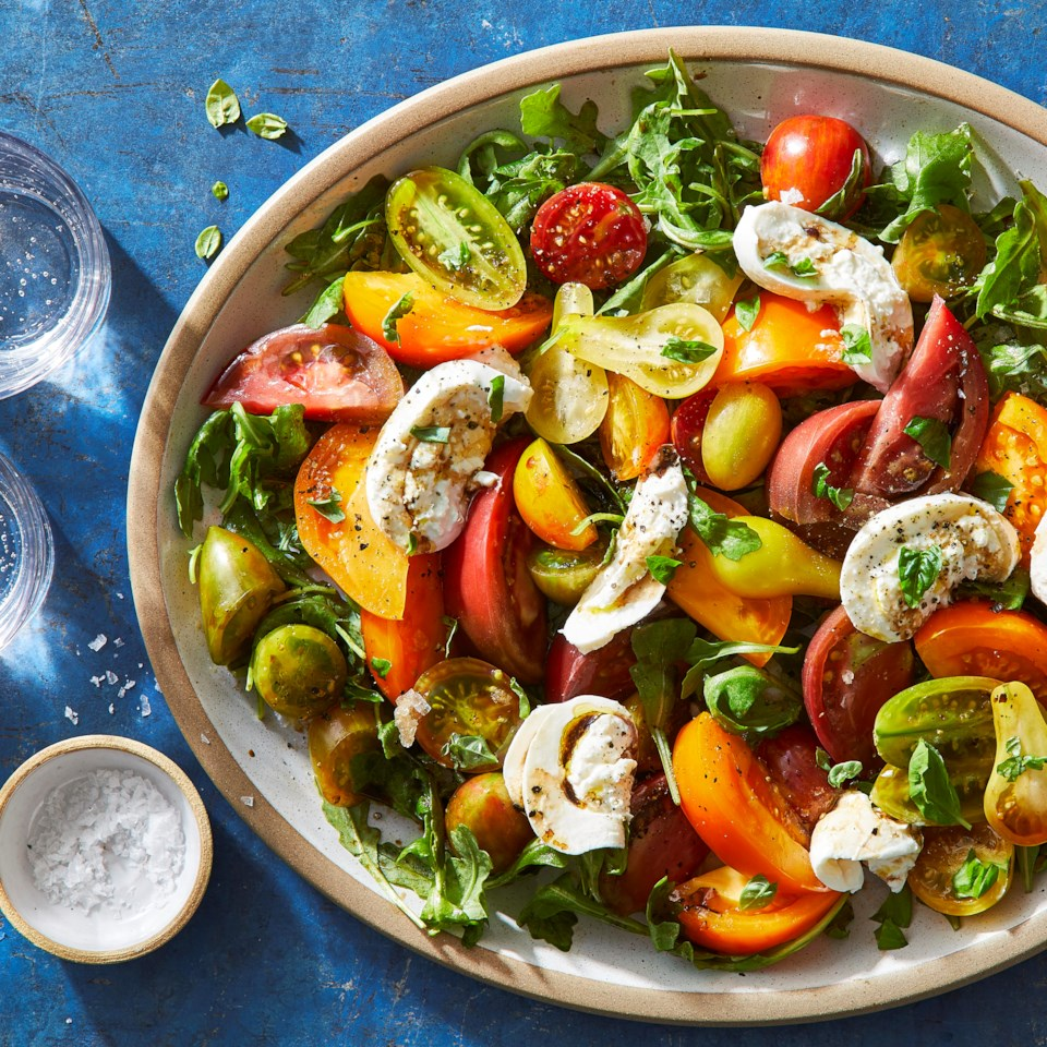 Caprese Salad with Heirloom Tomatoes & Burrata