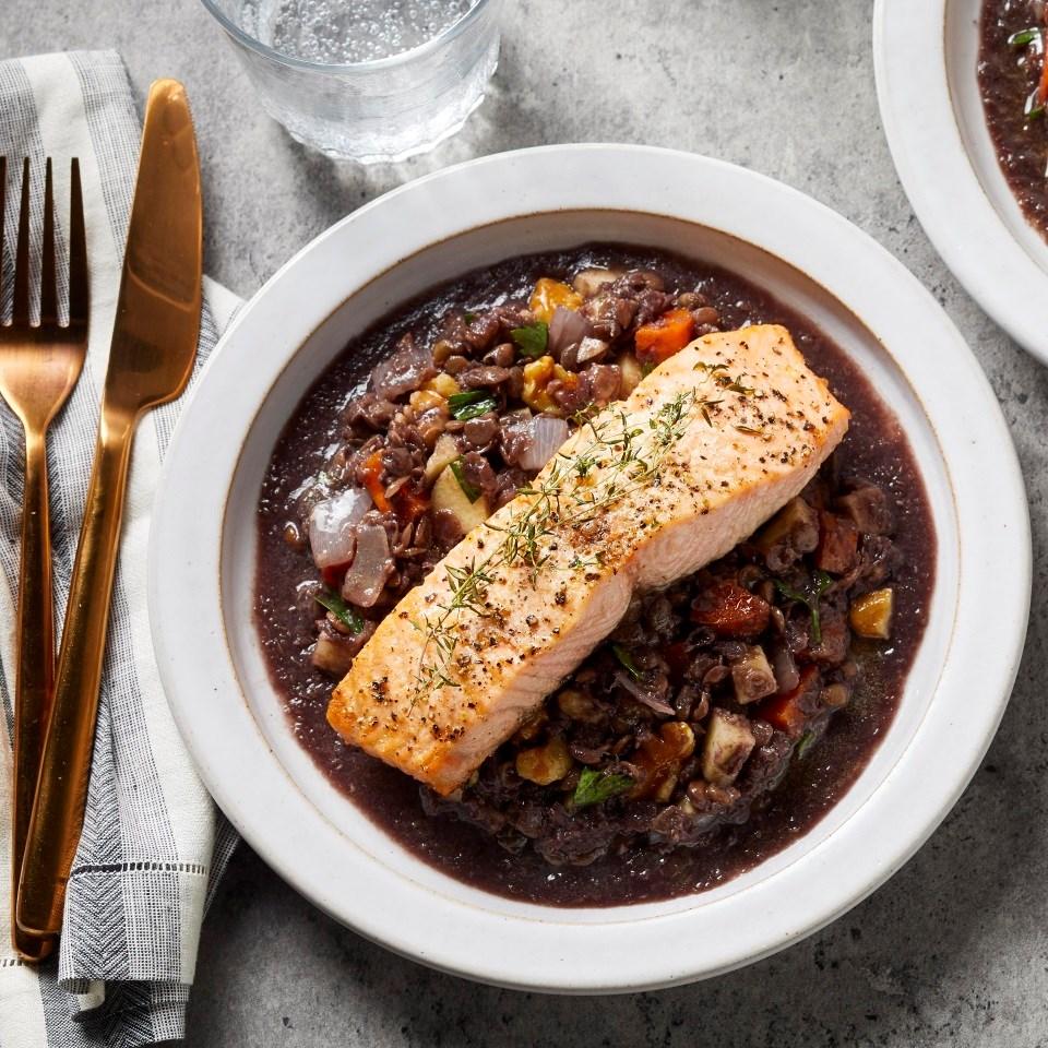 Salmon over Warm Lentil, Apple & Walnut Salad